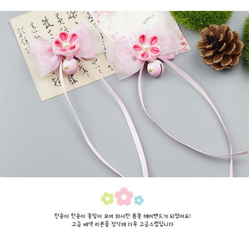 Chinese style children hair clip national double flower Bell tassel baby head wear Bow hairpin girl in Hair Accessories from Mother Kids