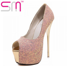 2016 Summer Party Shoes Super Spool High Heels Pumps  Popular Night Club Peep Toe Women Pumps Glitter Thick Platform Shoes Woman