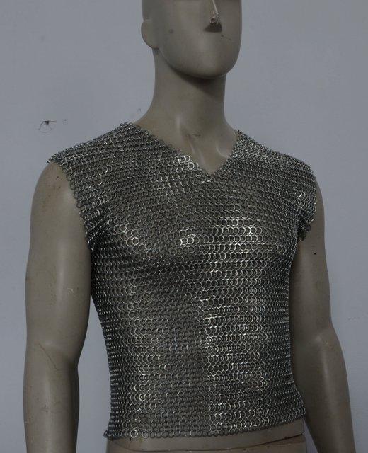 Cadeia mail/armadura macio ouriço/colete de ferro/stab-resistente vest/colete plate/8mm Um anel/de grandes dimensões