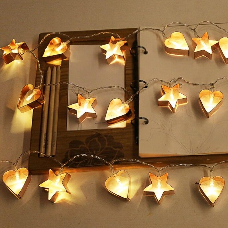1.5 Meters 10 Lights Nordic Style Rose Gold Lantern Light String Night Festival Lighting battery string lights