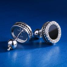 White Gold Stud Earring for Men Black Onyx Inlaid Round Earring Hip Hop Jewelry Punk Earrings