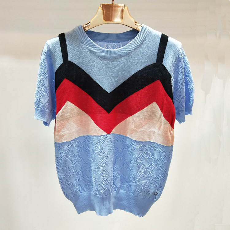 2018 summer new ice silk thin fake two piece knitted short sleeve t shirt H115