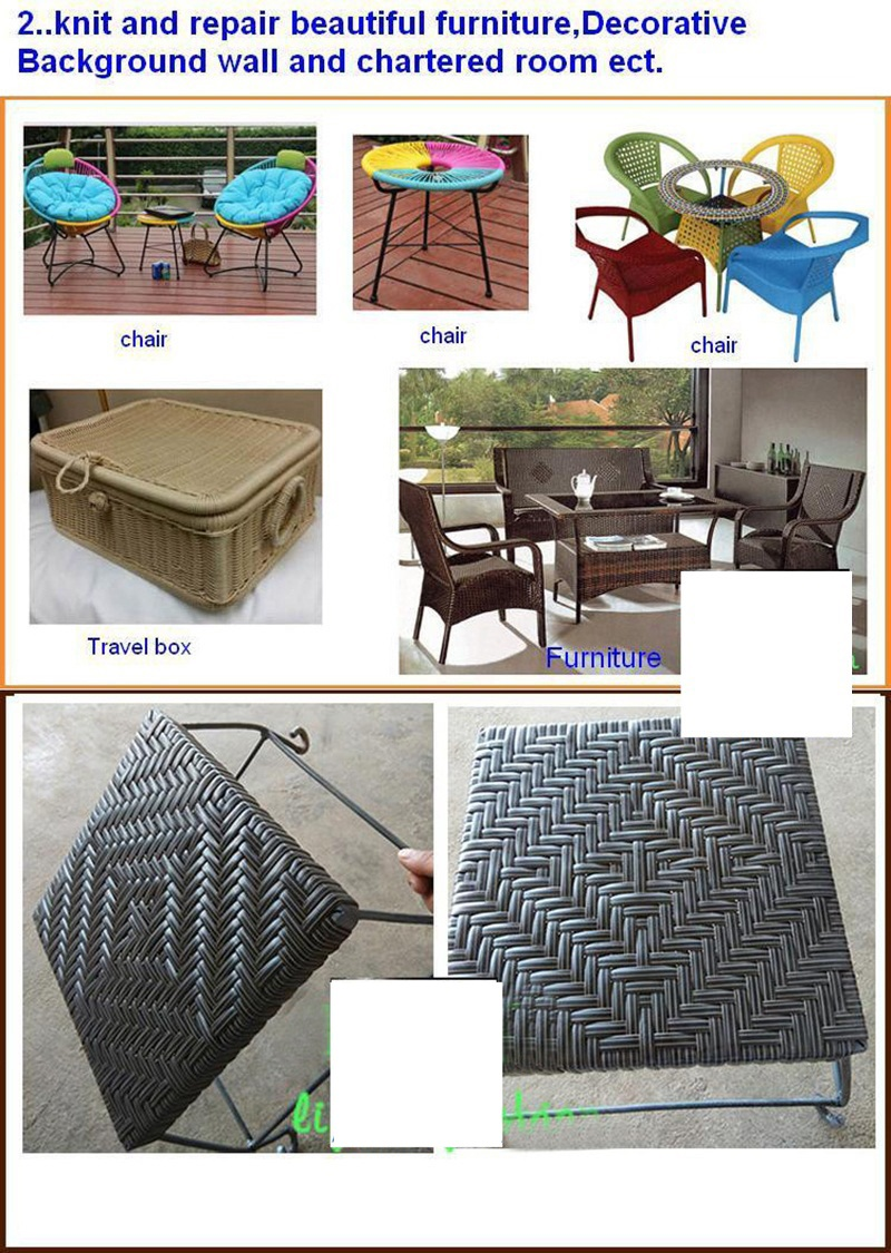 500g Collection Here Black 60meters Width:8mm Four Lines Synthetic Rattan Weaving Material Plastic Knit Repair Chair Table Pe Rattan