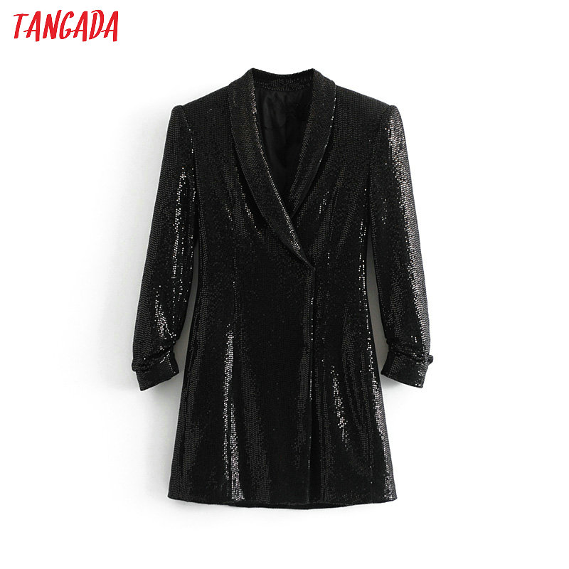 Tangada women sequined blazer dress long sleeve female elegant black dress lady party mini dresses vestidos 3H146