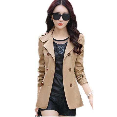 Autumn Women Windbreaker Casual Long-sleeved Turn Down Collar   Trench   2018 Double-breasted Office Ladies OL Coats Outwear 3XL