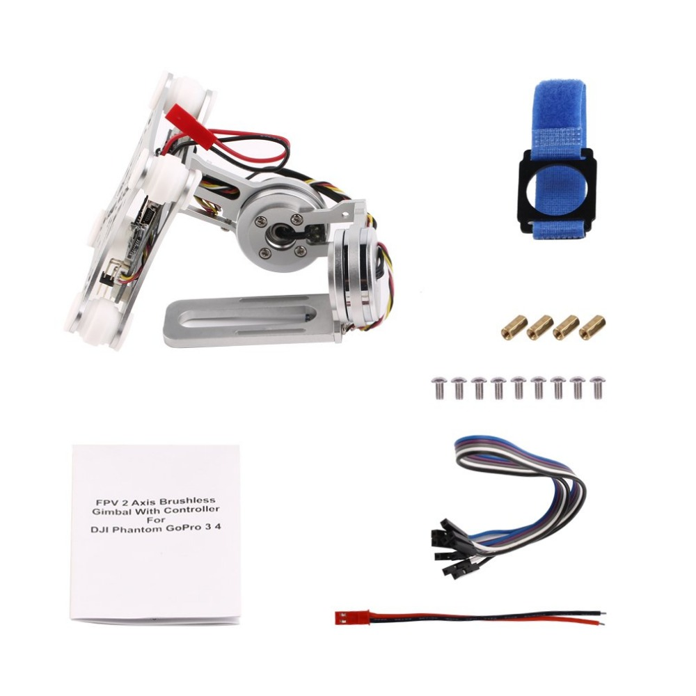 Silver FPV 2 Axle Brushless Gimbal With Controller For DJI Phantom GoPro 3 4 professional drone accesorries brushless gimbal frame 2 motors controller for dji phantom gopro 4 3 3 fpv 6a30 drop shipping