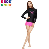 2017 Gsou Snow Brand Beach Surf Swimwear Women High Elasticity Triathlon Wetsuit Long Sleeve Rash Guard Shirts Shorts For Women