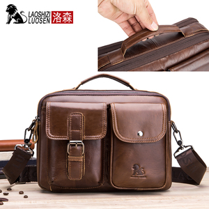 Image 2 - LAOSHIZI Genuine Leather Briefcase Men  Shoulder Bag Soft Cowhide Messenger Bag Vintage Male Handbags Business Tote