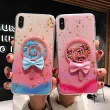 Tfshining Cute Candy Lollipop Phone Case For iPhone X XR XS Max 6 6S 7 8 Plus Colorful Glitter Gradient TPU Silicone Cover
