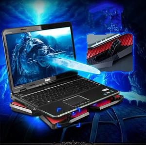 "Image 5 - 아이스 매직 2 쿨러 4 침묵 팬 LED USB 2.0 노트북 냉각 패드 12 ""13"" 14 ""15"" 17 ""노트북 미끄럼 방지 홀더 2 USB 포트"