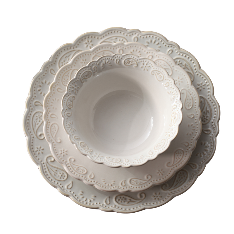 Ceramic Dishes White Porcelain Dinner Plate Embossed