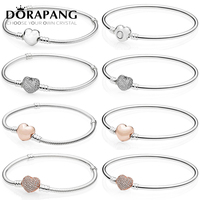 DORAPANG 100 925 Sterling Silver Rose Gold Love Bracelet Clear CZ Charm Bead Fit Pendant DIY