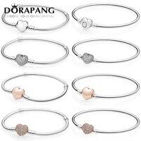 DORAPANG 100 925 Sterling Silver Rose Gold Love Bracelet Clear CZ Charm Bead Fit Pendant DIY