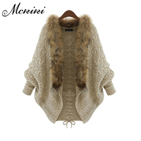 MCKIKI2017 Winter New Europe And The United States Selling Large Size Ladies Knitted Cardigan Bat Sleeve