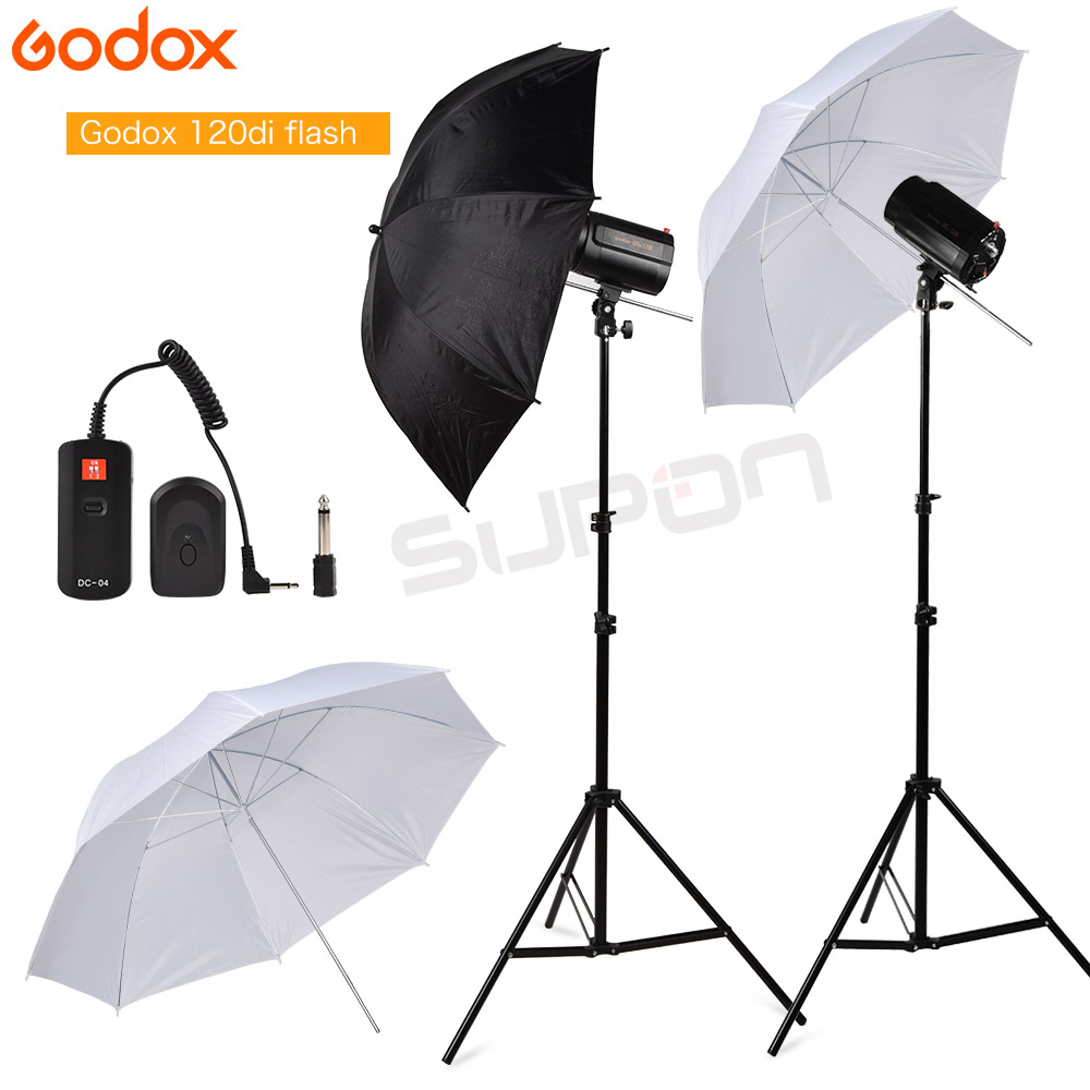 GODOX 240Ws 2 120Ws Pro photo Studio Strobe Flash Light with Soft Umbrella Light Stand DC