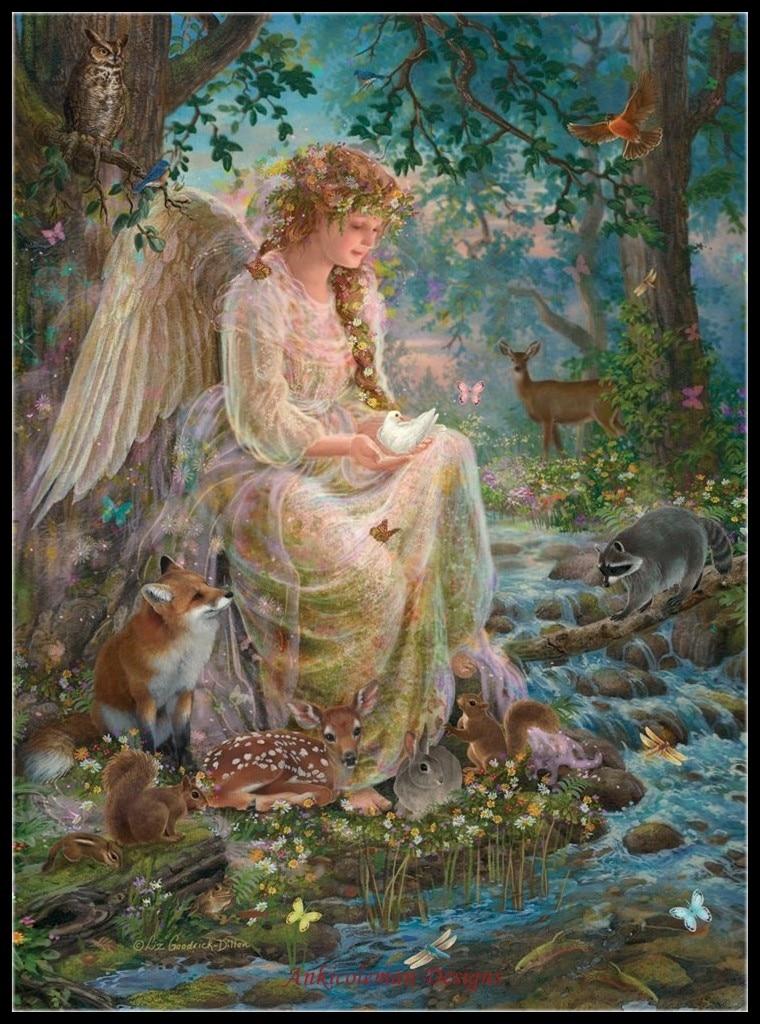 Рукоделие для вышивки своими руками DMC цвет высокое качество счетный Набор для вышивки крестом 14 ct картина маслом лес фантазия Ангел