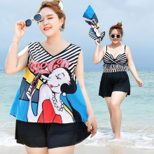 Купить с кэшбэком 2018 Plue Size Women Push Up Bikini Sets Cartoon Wears Black And White Striped Underwire Padded Bra 6XL Black Short Beach Suits