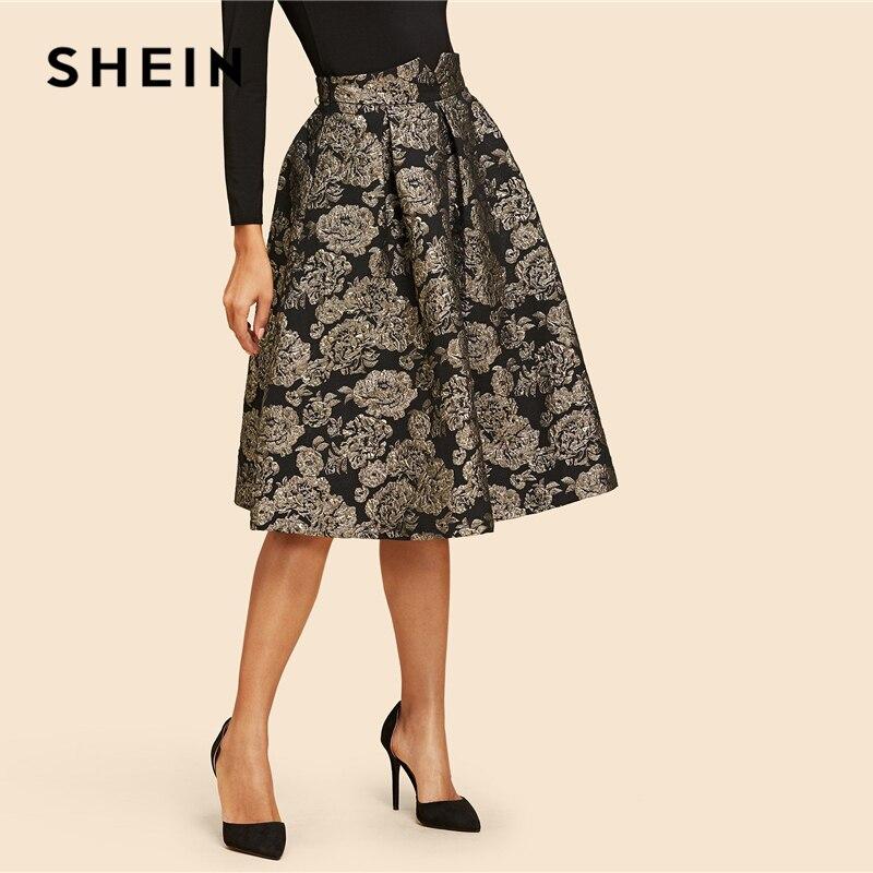 Image 3 - SHEIN Vintage Gold Flower Print Mid Waist Flare Knee Length Skirt 2018 Autumn Elegant Modern Lady Women Skirts-in Skirts from Women's Clothing