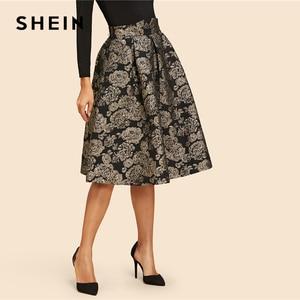 Image 3 - SHEIN Vintage Gold Flower Print Mid Waist Flare Knee Length Skirt 2018 Autumn Elegant Modern Lady Women Skirts