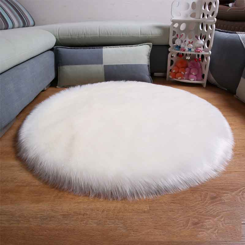 White Soft Sheepskin Round Rug Chair Cover Artificial Wool Warm Carpet for Living Room Kids Mat Seat Fur Area Rugs Home Decor