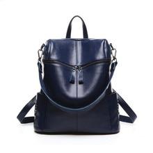 Новый 2017 женщины натуральная кожа рюкзак женщины сумка школа рюкзаки для девочек-подростков школьный синий дизайнер bookbags