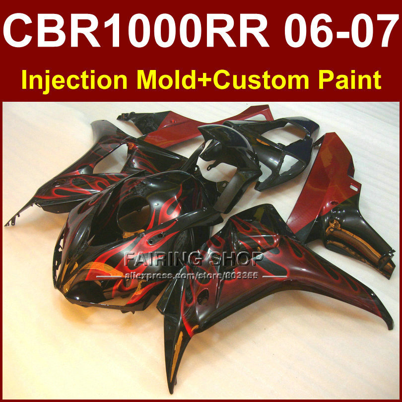 Perfect red flame body parts for honda motorcycle fairing cbr1000rr cbr1000rr 2006 2007 injection mol