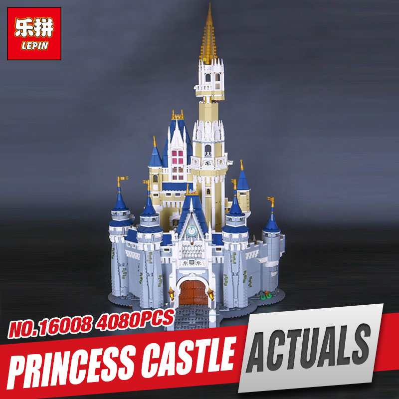 LEPIN 16008 Cinderella Princess Castle City 4080pcs Model Educational Building Block Kid Toys Compatible 71040 for children gift hot cinderella princess castle city model building block kid educational brick toy for compatible lepins christmas children gift