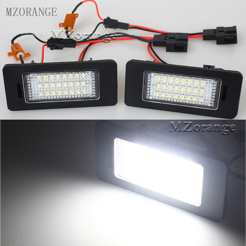 MZORANGE 1 Pair 24-SMD LED Number License Plate Light White Fit for SKODA Octavia 3 / Superb B6 Combi / Rapid / Yeti / Fabia