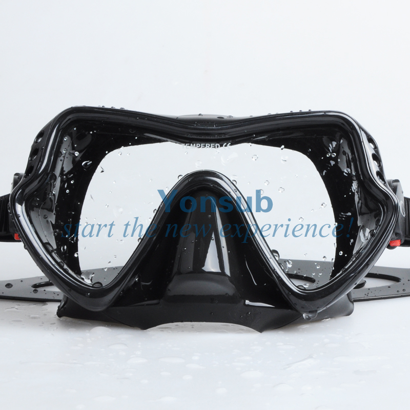 Free Shipping Scuba Diving Equipment Silicone Tempered Glass Diving Mask+100% Dry Snorkel YM280+YS03Black tempered glass myopia snorkel set adult scuba diving mask gopro camera mount dry diving set deepgear brand scuba snorkel gears