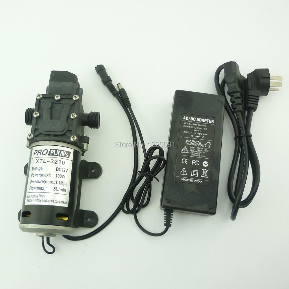 100W Automatic pressure switch DC Diaphragm small Water Pump 12v high pressure 8L/min with G1/2 port and 12v 8A power adaptor 160psi 8l min dc 100w water diaphragm pump 24v