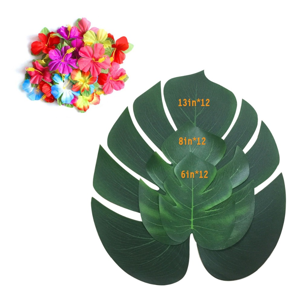 12pcs Artificial Monstera Leaf Tropical Palm Leaves Large Silk Green