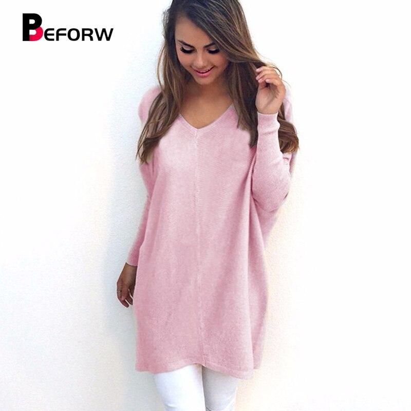 Beforw feminino solto casual camisola 2018 outono inverno pullovers moda sólidos blusas sexy decote em v malha longa camisola feminina