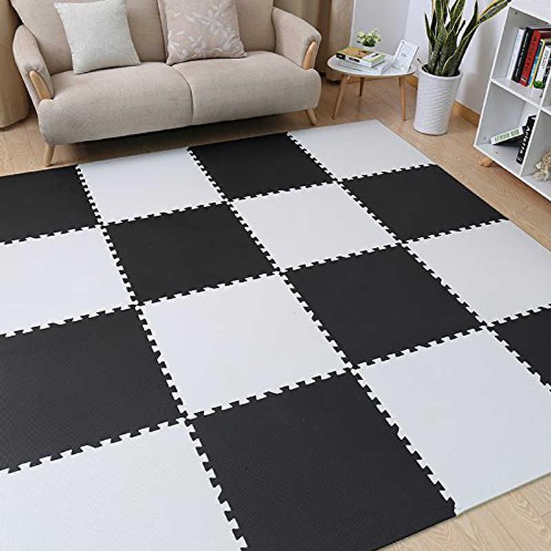 Meitoku bebek EVA köpük oyun bulmaca matı, siyah beyaz kilitli zemin halısı halı, 25 fayans pad çocuklar için. Her 32x32cm ücretsiz kenar.