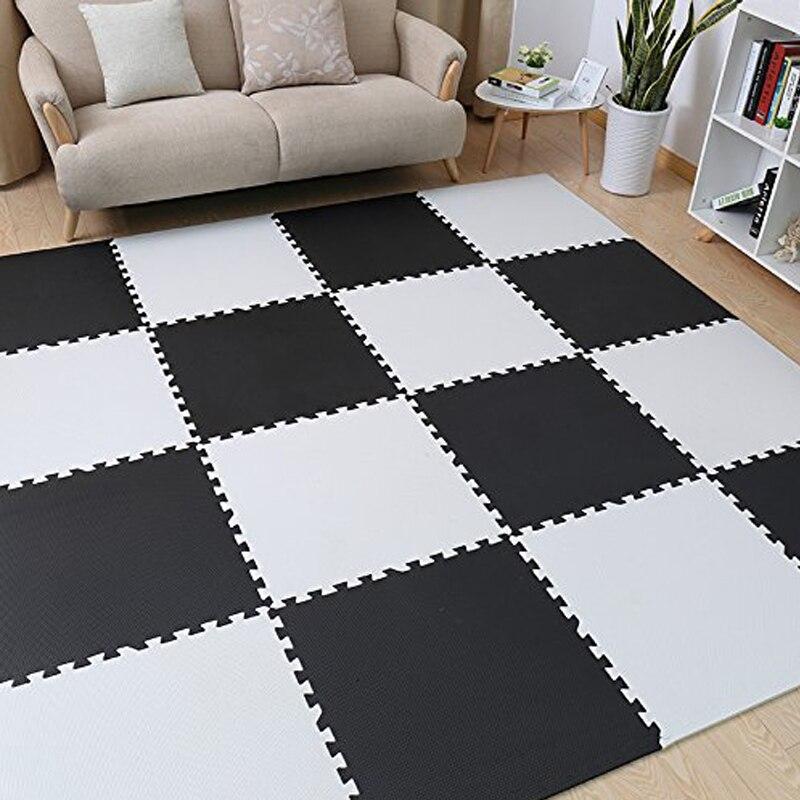 Tapis de Puzzle Meitoku Baby EVA en mousse, tapis de sol noir blanc à emboîtement, tapis de 25 carreaux pour enfants. Chaque bord libre de 32x32 cm. - 2