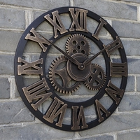 23 oversized rustic home decorative retro vintage art luxury wall clocks large gears designed on the wall