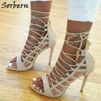 Sorber Plus Size Women Sandals White PU Lace Up Large Size 34 47 Peep Toe Designer