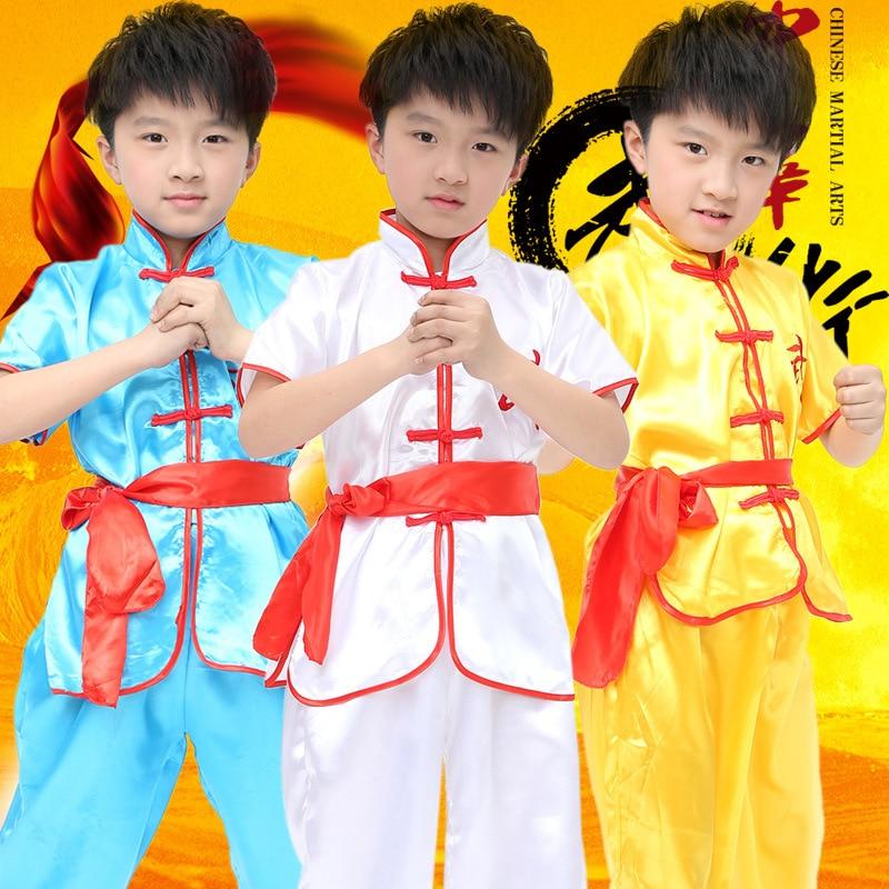 Children Dobok Chinese Traditional Wushu Taekwondo Costume Kimono Judo Clothing Kung Fu Suit Tai Chi Martial Art Uniform