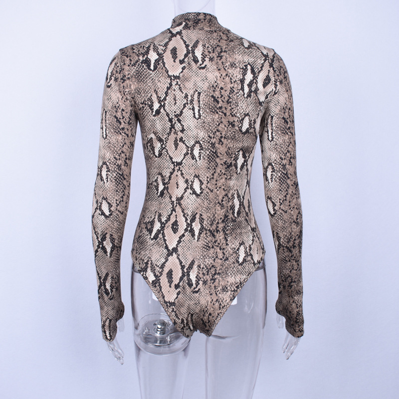 HTB10fDBXh rK1RkHFqDq6yJAFXam - Gtpdpllt snake skin grain Print Bodysuit Women Tops Long Sleeve Autumn Winter Turtleneck Slim Bodysuits Rompers Womens Jumpsuits