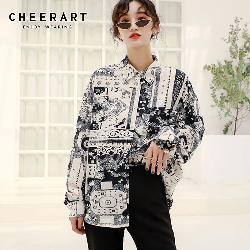 Cheerart Vintage Button Up Blouse Long Sleeve Shirt Women Black And White Print Loose Shirt Plus Size Tops Clothes 2019