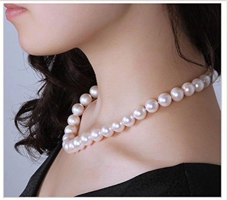 925 argent réel naturel grand compteur véritable 9-10mm jour lumière collier de perles rondes et véritable femme envoyer un cadeau à maman