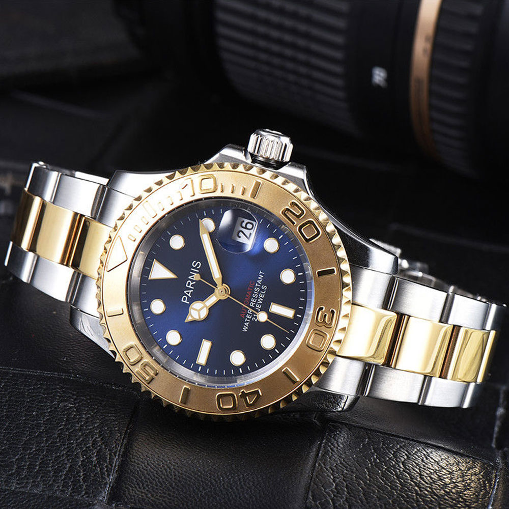 41mm Parnis Blue dial Stainless Steel Case Sapphire glass Luminous Hands Luxury 21 jewels miyota Automatic movement Mens Watch