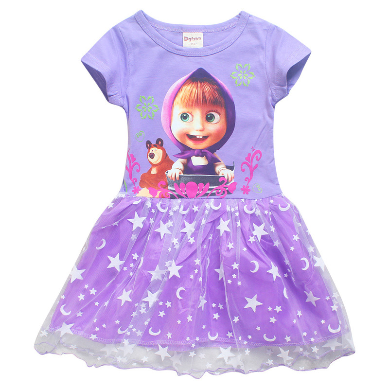 Little Girls Dresses Baby girl Summer Short Sleeve Lace Dress Princess Birthday Party Costume Masha and Bear Children Clothes 8Y jessica simpson little girls kenzie graphic with pleather sleeve