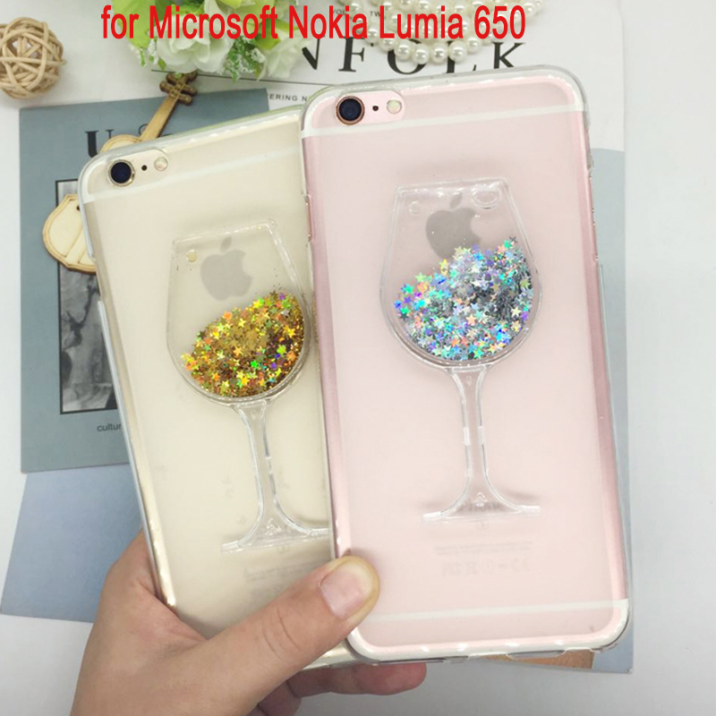 Soft Silicone <font><b>Phone</b></font> <font><b>Case</b></font> Cover for Microsoft Nokia <font><b>Lumia</b></font> <font><b>650</b></font> Quicksand Rhinestone Red Wine Glass Pattern Fundas Capa Coque