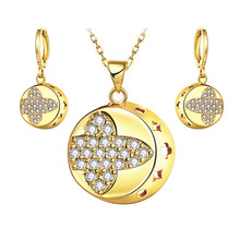 Jewelry Sets Trendy Women 18K Gold Plated crystal Fashion classic wedding Africa Nigeria rhinestone party Necklace Earrings Sets