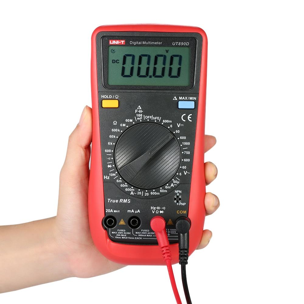 UNI T UT890D RMS LCD Digital Multimeter tester multimetro analogico DC/AC Voltmeter Ammeter Capacitance Tester uni t ut603 2 7 lcd digital inductance capacitance tester red grey 1 x 9v