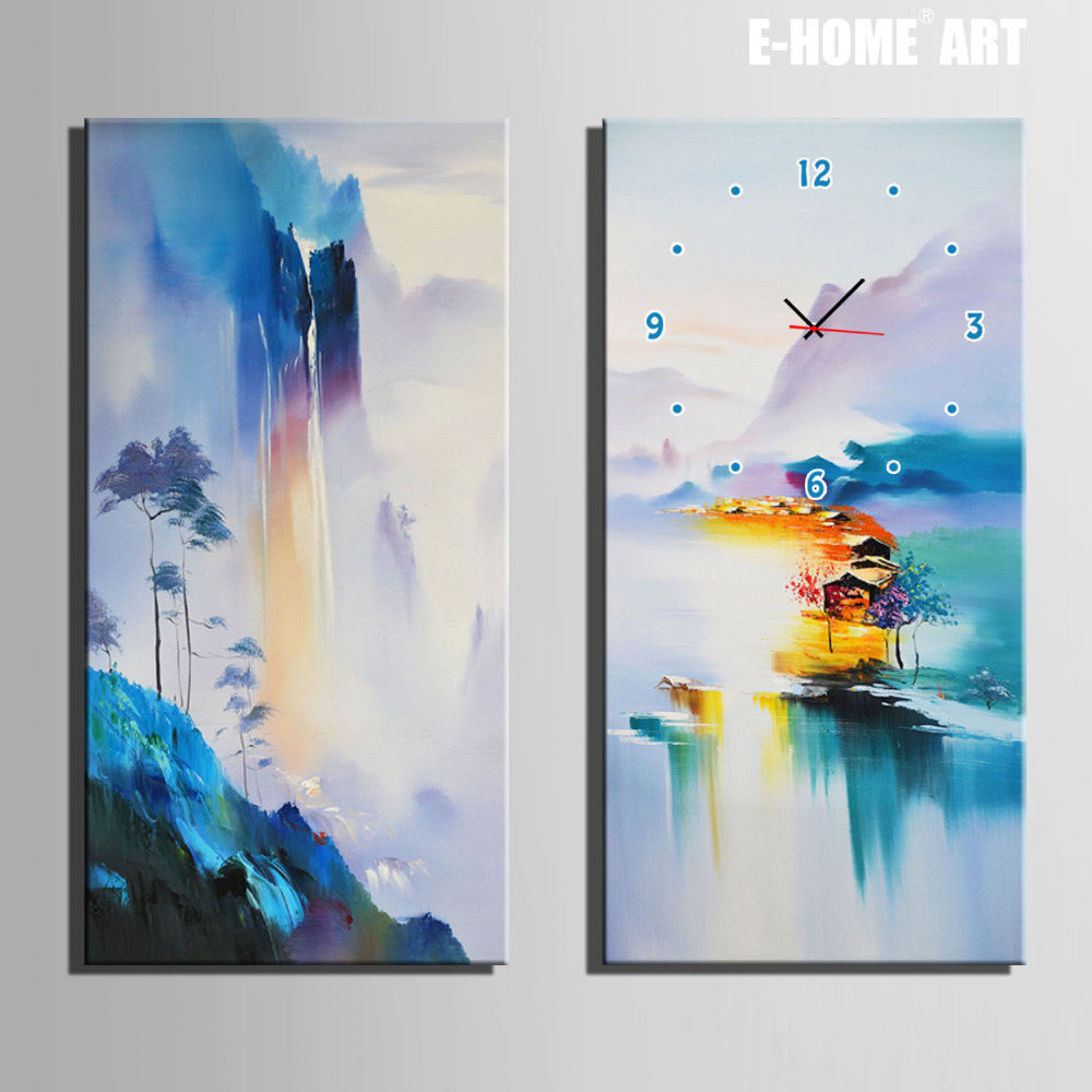 Free Shipping E-HOME Colorful Mountains And Water Views  Clock in Canvas 2pcs wall clockFree Shipping E-HOME Colorful Mountains And Water Views  Clock in Canvas 2pcs wall clock