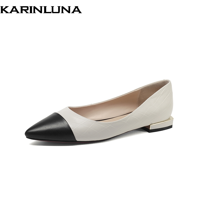 KARINLUNA Brand New Genuine Leather Mixed Colors Pointed Toe slip-on Shallow Shoes Woman Casual Spring Flats Big Size 33-43 lapolaka 2018 spring autumn sweet shallow women ballet flats bow beading slip on shoes woman big size 33 43 casual footwear