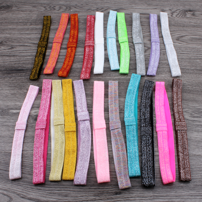 30pcs/pack 5/8 21colors Solid Ribbon FOE Band for Hair Bows Fold Over Elastic Glitter Kids Headbands for Girls Hair Accessories 8 colors 5 8 fold over elastic black with metallic gold diamond 50yards per lot