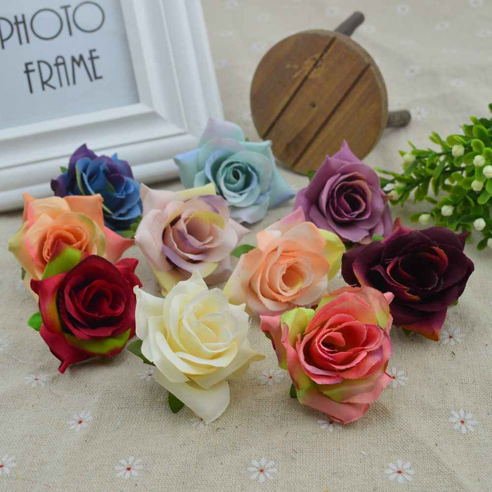 10pcs Vintage Artificial flowers cheap for home accessories decoration christmas wedding scrapbooking fake diy gifts Silk roses