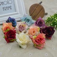 10 Uds. Flores artificiales Vintage baratas para el hogar Accesorios decoración Navidad álbum de recortes para boda Regalos falsos diy rosas de seda